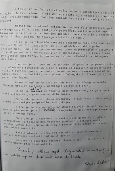 Zapisnik seje društva o uspešnosti Praznika pomladi 1987.