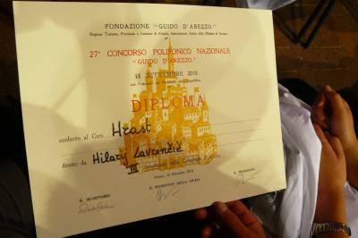 Tretje mesto na tekmovanju v Arezzu. September 2010.