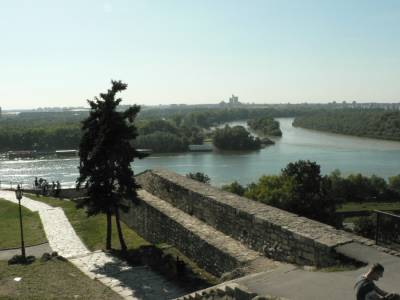 Beograd, Kalemegdan. Sotočje Donave in Save. September 2007.